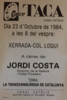 Cartell anunciant la conferència de Jordi Costa sobre la Transvanguàrdia, el 1984