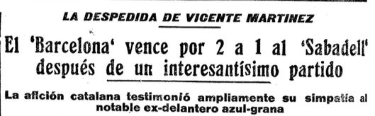 Titular de Mundo Deportivo sobre el partit de comiat de Vicenç Martínez