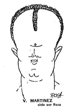 Caricatura de Vicenç Martínez -tenia fama de tenir el cap gros- apareguda a El Mundo Deportivo