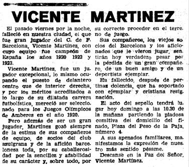 Obituari sobre Vicenç Martínez publicat a El Mundo Deportivo el desembre del 1963