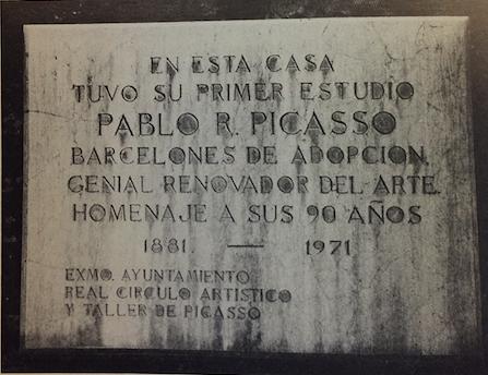 Placa d'homenatge a Pablo Picasso